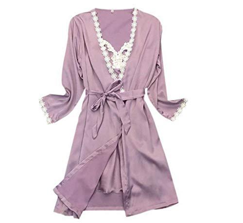 Camisón cuello Manga Cinturón Dormir V Mujer Vestido Batas Purple Moda De Otoño Camisones Con Cómodo Largo Casuales wAqIx1Yt