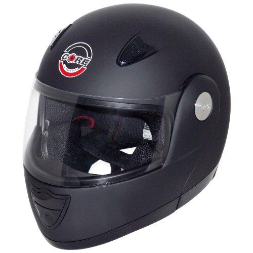 Core Zip Modular Helmet (Flat Black, Large) (Flat Black Modular Helmet)