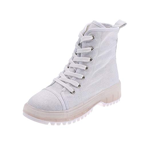 Zlolia Women's Round Toe Suede Leather Lace Up Side Panel Martin Boots Low Heel Slip On Fashion Rivets Work Combat Boots White (Wii U Console Best Price Uk)