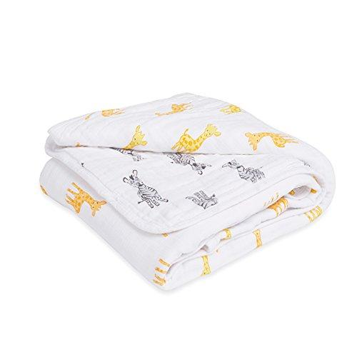 4 Safari Giraffe - aden by aden + anais Dream Blanket, 100% Cotton Muslin, 4 Layer lightweight and breathable, Large 44 X 44 inch, Safari Babes - Giraffe/Zebra