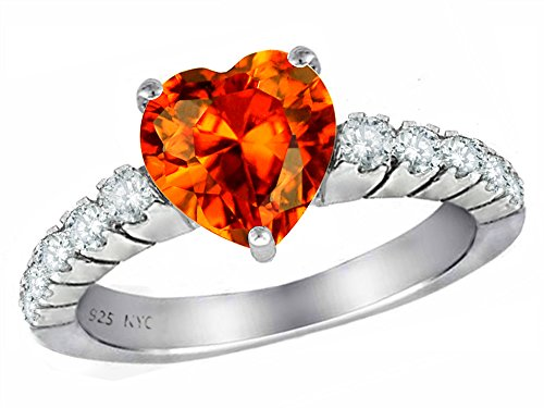 Star K 8mm Heart Shape Simulated Orange Mexican Fire Opal Ring Sterling Silver Size 6