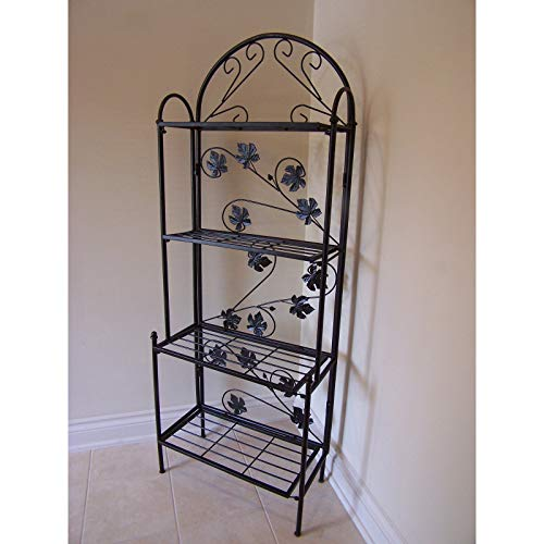 Care 4 Home LLC Accent Metal Bakers Rack, Flower Design,Functional, Saves Space, 4 Rectangular Shelves, Traditional Style, Perfect Indoor Outdoor Use, Black Color + Expert -