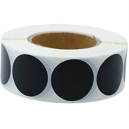 1 roll Hybsk Black Blank Coding Dot Labels 1 Round Natural Paper Stickers Adhesive Label 1,000 Per Roll
