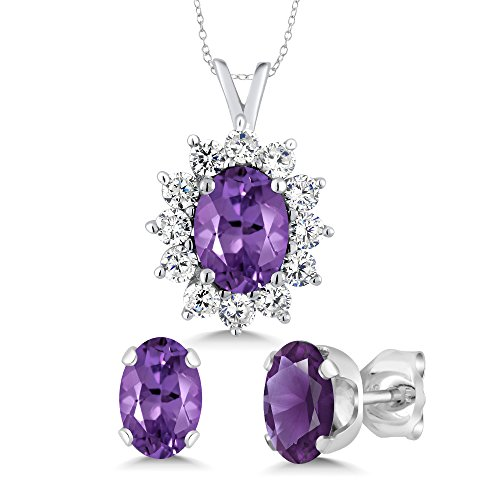 (Sterling Silver Oval Purple Amethyst Pendant & Earrings Set (3.00 cttw, With 18 Inch Silver Chain))