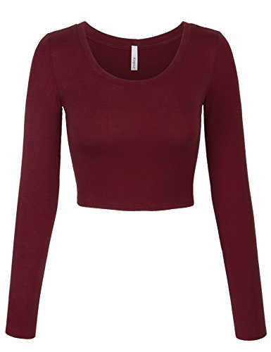 KOGMO Womens Long Sleeve Basic Crop Top Round Neck With Stretch -S-Burgundy