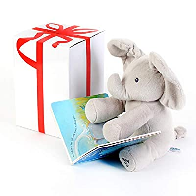 """BABY ANIMATED FLAPPY THE ELEPHANT PLUSH TOY with """"IF ANIMALS KISSED GOOD NIGHT"""" Book,Free Gift Box ,For Birthdays 