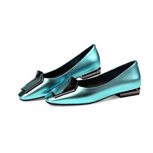 véritable Talons de Femmes en Luxe la Mariage Pieds de Gamme Chaussure Chaussures Mode de de Bleu Cuir Hauts carrés Chaussures Femme Minces de wAqZqxOgt