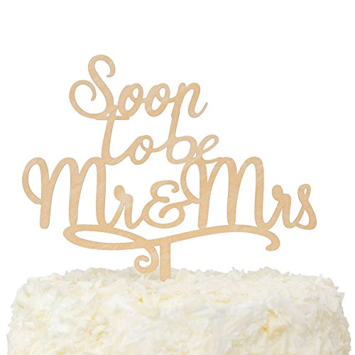 LOVENJOY with Gift Box Soon To Be Mr and Mrs Monogram Rustic Wood Wedding Engagement Cake Topper (5.8-inch) for $<!--$14.99-->