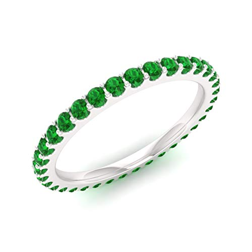 Diamondere Natural and Certified Emerald Wedding Ring in 14K White Gold |0.91 Carat Full Eternity Stackable Band for Women, US Size 6.5