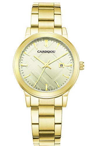 Cardqiou Women Watch, Stainless Steel Watch, Waterproof Quartz Dress Wristwatch by Cardqiou
