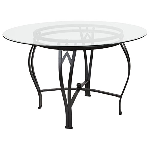 Flash Furniture Syracuse 48'' Round Glass Dining Table with Black Metal ()