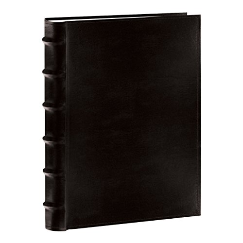 """This sewn European bonded leather photo album features a deluxe raised rounded book style spine. It holds 300 photos up to 4""""x6"""" in optically clear pockets with a shaded background and a memo writing area. Photos are displayed three per page. Album m..."""