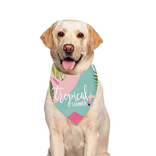 JTMOVING Dog Scarf Tropical Flowers Flamingo Summer Banner