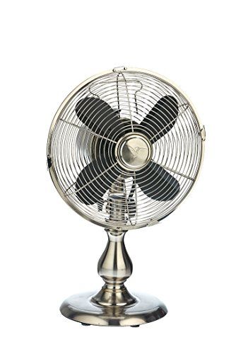 DecoBREEZE Oscillating Table Fan 3 Speed Air Circulator Fan, 10 In, Stainless Steel by Deco Breeze