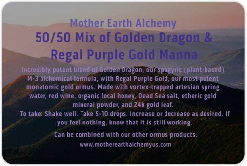 Blue Earth Dragon - Mother Earth Alchemy 50/50 mix 2oz mix of golden dragon with purple manna made by real alchemists with mostly organic materials of G. dragon with the purple manna from 24K gold comes in an EMF bag