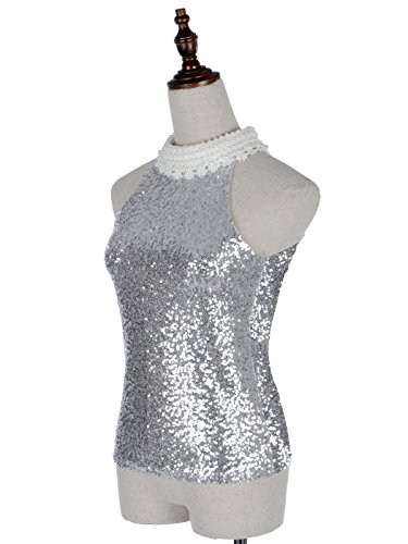 Anna-KaciFemmes paillettes argent orné de perles et dentelles au Crochet garniture en haut