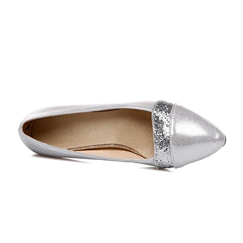 BalaMasa Womens Chunky Heels Sequin Low-Cut Uppers Imitated Leather Pumps-Shoes Silver v50OLFg2