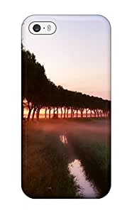 AnnaSanders Iphone 5/5s Well-designed Hard Case Cover Trees Mist River Fields Amp Digital Protector