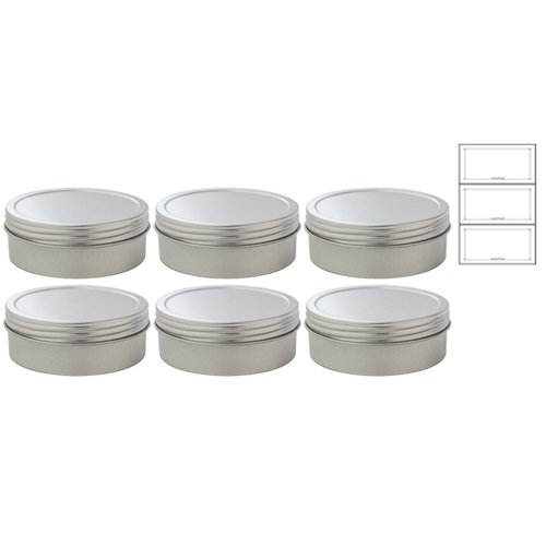 4 oz Metal Steel Tin Flat Container with Tight Sealed Twist Screwtop Cover (6 pack) + Labels