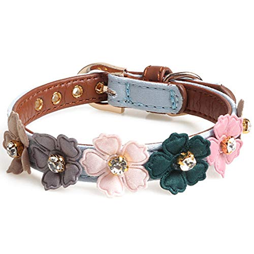 (Axgo Adjustable PU Leather Cat Collar with Daisy Flowers and Rhinestone for Kitten and Small Dogs, 1.3 x 34cm, Blue)