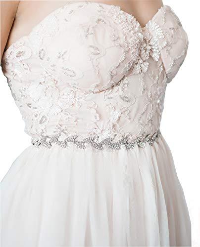 SWEETV Rhinestone Leaf Bridal Belt Thin Crystal Wedding Belt Bridesmaid Sash for Dress & Gown, Silver
