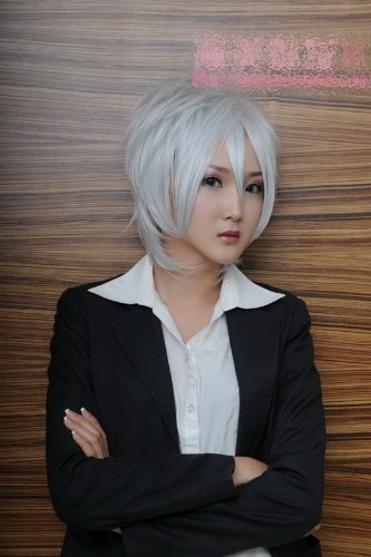 Short silver white slight curly wavy cosplay wig Wig Prussia Gilbert servant ss Royal fox fox x double blazing autumn Seto God or cosplay wig wig - Royal Servant Costume