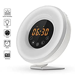 SveBake Sunrise Sunrise Alarm Clock Wake Up Light - Sunset Simulation Digital Youth Alarm Clock with 6 Nature Musics, FM Radio, 7 Color Lights for Bedside-Gift
