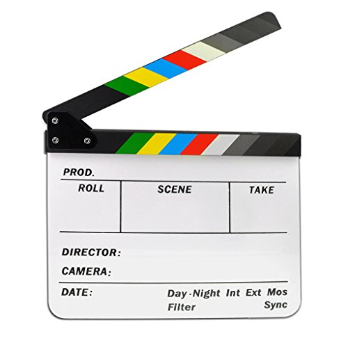 Jmkcoz Acrylic Film Clapboard Dry Erase Director Film Movie Clapper Board Cut Action Scene Clapper Board Slate with colorful Sticks -
