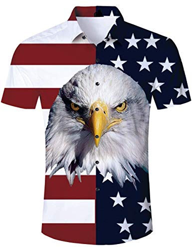 Guys Button Down Shirts - Aloha Hawaiian Shirts Guys Men Beach Buttondown Short Sleeve American Flag Patriotic Tops Blouse for Young Male 80s 90s Teen Boys Holiday Party Clothing Dad and Son Size 2XL XX Large