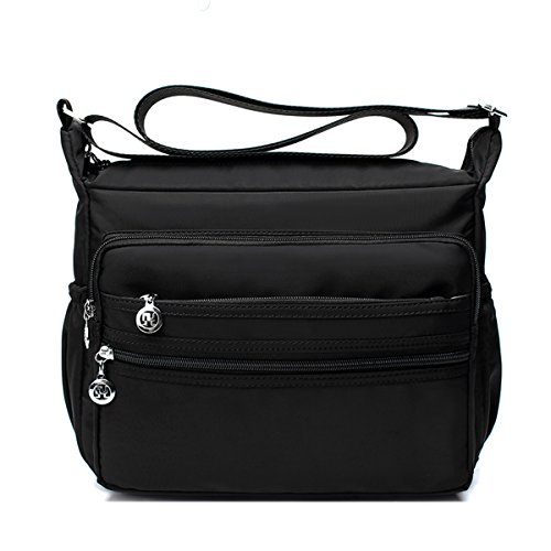 Light-weight Nylon Shoulder Crossbody Bags - Messenger Handbag Purse (Black,L)