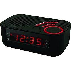 Coby CBCR-100-BLK Digital Alarm Clock with AM/FM Radio and Dual Alarm (Black)