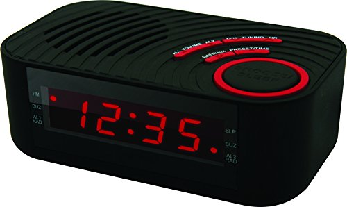 Coby CBCR-100-BLK Digital Alarm Clock with AM/FM Radio and Dual Alarm ()