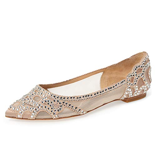 Toe Heels Dress Pointed - XYD Women Elegant Pointed Toe Rhinestone Flats Mesh Slip On Low Heel Wedding Bride Dress Shoes Size 7 Nude