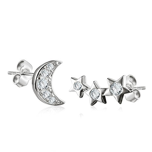 (Shooting Star (1) and Moon (1) Stud Set in Sterling Silver White Gold Finish)