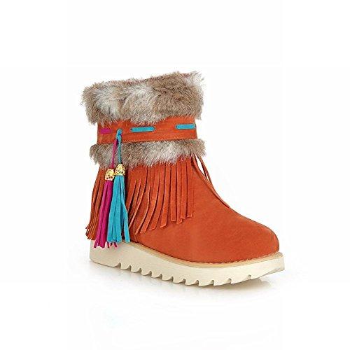 Carol Shoes Women's New Style Tassels Pendant Flatform Snow Boots Orange szn021