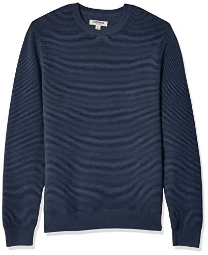 Goodthreads Men's Soft Cotton Ottoman Stitch Crewneck Sweater, Navy, XX-Large Tall ()