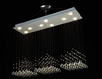 "Modern Contemporary Chandelier ""Rain Drop"" Chandeliers Lighting with Crystal Balls! H31-79"" X W48"" X D12"""