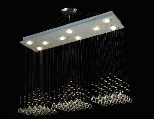 "Modern Contemporary Chandelier ""Rain Drop"" Chandeliers Lighting with Crystal Balls! H31-79″ X W48″ X D12″"