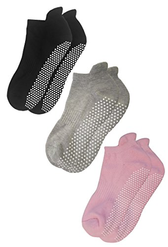 Deluxe Anti Slip Non Skid Barre Yoga Pilates Hospital Socks with grips for Adults Men Women … (Large, 3-pair/black+grey+pink)