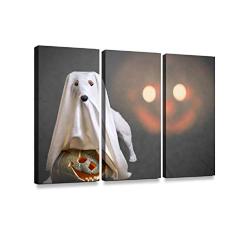 Funny Ghost and Traditional Halloween Pumpkin with Scary face at background3 Pieces Print On Canvas Wall Artwork Modern Photography Home Decor Unique Pattern Stretched and -
