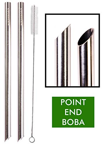 Bubble End - 2 POINT END BOBA Straw Stainless Steel Extra Wide 1/2