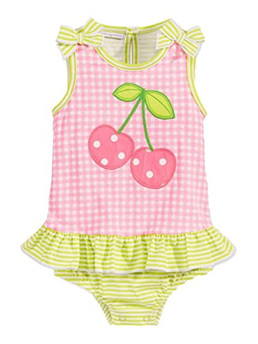 First Impressions Baby Girls Gingham/Stripe Cherry Sunsuit Sweetest Plum (3-6 (Gingham Sunsuit)