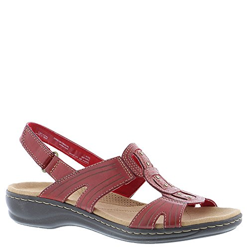 CLARKS Women's Leisa Vine Red Leather 9 W US
