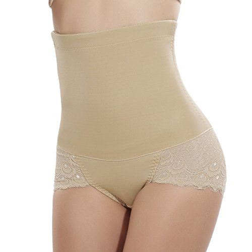 TINGLU High Waist Butt Lifter with Steel Bone Breathable Body Shaper Panty for Women,Beige,S(Waist 25.5