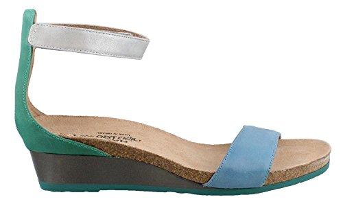 Naot Footwear Women's Pixie Vintage Blue Leather/Oily Emerald Nubuck/Ice Blue Leather 38 M EU