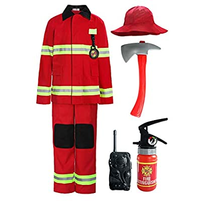 ReliBeauty Children Firefighter Role Play Fireman Costume for Kids: Clothing