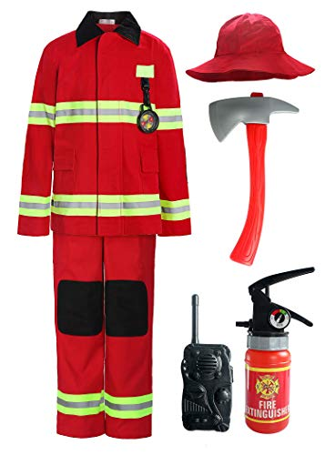 ReliBeauty Children Firefighter Role Play Fireman Costume for Kids, Red, 5/120]()
