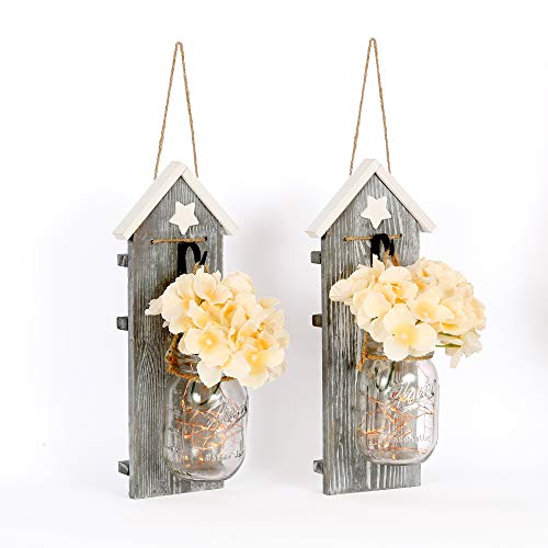 HAchoo Wall Décor for Dining Rooms Rustic Brown Country Chic Wall Art - Set of 2 Vertical Sconces - Hanging Mason Jar Home Decorations - LED Light with 6h Auto Off Function - Universal Home Décor