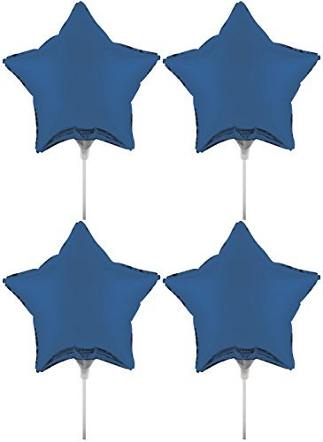 Set of 4 Foil Air Filled Balloons! Helium Free - Sticks and Joiner - Stars - Unique Themes - Party Balloons and Birthday Balloons Perfect for any Party Decoration! (4ct True Blue 18
