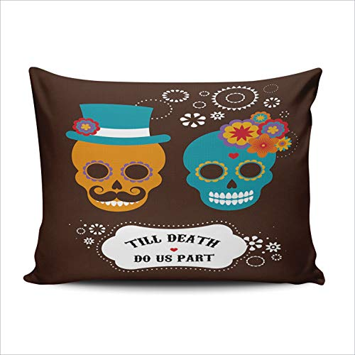 DOUMIFA Cute Hipster Skulls Till Death do Our Party 12x20 Lumbar Throw Pillow Case Decor Cushion Covers One Sided Printed ()
